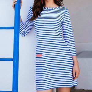 Royal Blue Stripe Cabana Shift Dress